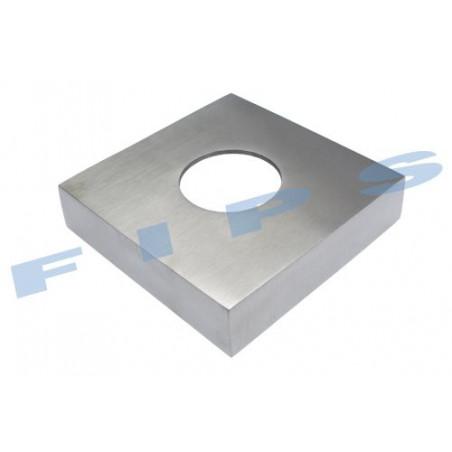 Cache platine carré pour tube 42.4x2 mm  en inox 316 brossé