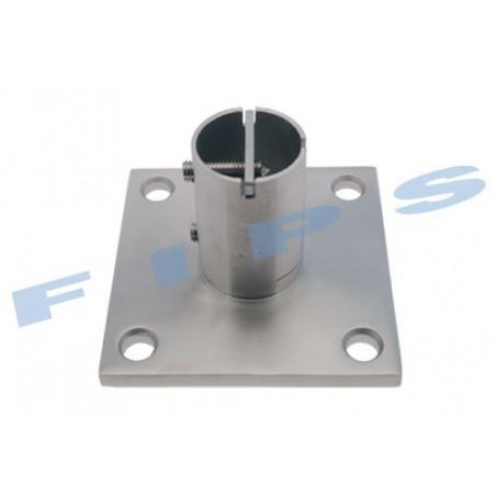 Platine carrée à visser 100x100 pour tube 42.4x2 mm en inox 316 brossé
